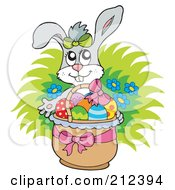 Royalty Free RF Clipart Illustration Of A Happy Easter Rabbit With A Basket Of Eggs