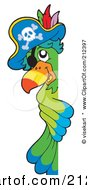 Royalty Free RF Clipart Illustration Of A Pirate Parrot Looking Around A Blank Sign
