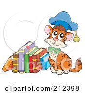 Royalty Free RF Clipart Illustration Of A Cat Professor Sitting By A Stack Of Books
