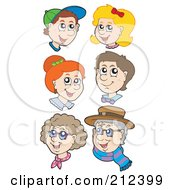 Royalty Free RF Clipart Illustration Of A Digital Collage Of Children Adults And Seniors by visekart