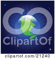Clipart Illustration Of Light Radiating From Planet Earth As Seen From Outer Space