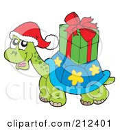 Royalty Free RF Clipart Illustration Of A Christmas Turtle Carrying A Present