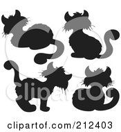 Royalty Free RF Clipart Illustration Of A Digital Collage Of Four Black Cat Silhouettes