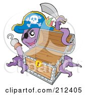 Royalty Free RF Clipart Illustration Of A Purple Octopus Pirate With An Empty Treasure Chest