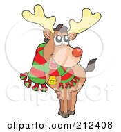 Royalty Free RF Clipart Illustration Of A Happy Christmas Elk Wearing A Scarf