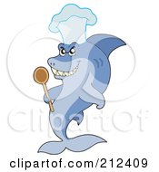 Royalty Free RF Clipart Illustration Of A Chef Shark Holding A Spoon