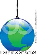 Clipart Illustration Of The Planet Earth Hanging By A Thread Or A Planet Ornament by elaineitalia