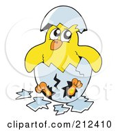 Royalty Free RF Clipart Illustration Of A Yellow Chick Breaking Out Of An Egg