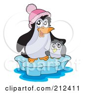 Royalty Free RF Clipart Illustration Of A Cute Baby Penguin And Mother On An Iceberg