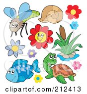 Royalty Free RF Clipart Illustration Of A Digital Collage Of A Dragonfly Snail Flowers Cattails Fish And Turtle by visekart