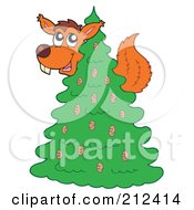 Royalty Free RF Clipart Illustration Of A Squirrel In An Evergreen Tree by visekart