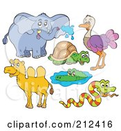 Royalty Free RF Clipart Illustration Of A Digital Collage Of An Elephant Tortoise Ostrich Camel Alligator And Snake by visekart