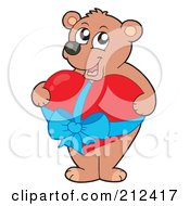Royalty Free RF Clipart Illustration Of A Sweet Bear Holding A Big Red Heart With A Blue Ribbon
