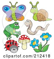 Royalty Free RF Clipart Illustration Of A Digital Collage Of A Butterfly Snail Worm Frog Ladybug Mushroom And Flowers by visekart