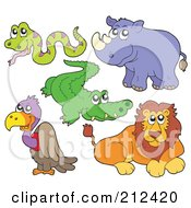Royalty Free RF Clipart Illustration Of A Digital Collage Of A Cute Snake Alligator Rhino Vulture And Lion by visekart