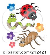 Royalty Free RF Clipart Illustration Of A Digital Collage Of A Ladybug Worm And Ant With Flowers by visekart