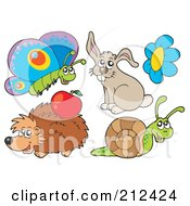 Royalty Free RF Clipart Illustration Of A Digital Collage Of A Butterfly Rabbit Flower Hedgehog And Snail by visekart