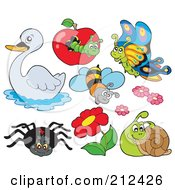 Royalty Free RF Clipart Illustration Of A Digital Collage Of A Swan Caterpillar Butterfly Bee Flowers Snail And Spider