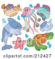 Royalty Free RF Clipart Illustration Of A Digital Collage Of A Blowfish Dolphin Starfish Sea Turtle Jellyfish And Fish by visekart
