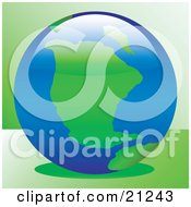 Clipart Illustration Of Green Continents And Blue Seas On Planet Earth Over A Green Background by elaineitalia