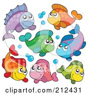 Royalty Free RF Clipart Illustration Of A Digital Collage Of Colorful Marine Fish And Bubbles