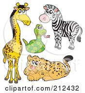 Royalty Free RF Clipart Illustration Of A Digital Collage Of A Cute Giraffe Snake Zebra And Leopard by visekart