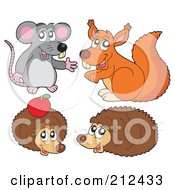 Royalty Free RF Clipart Illustration Of A Digital Collage Of A Rat Squirrel And Hedgehogs by visekart