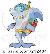Royalty Free RF Clipart Illustration Of A Scuba Shark With Gear