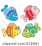 Royalty Free RF Clipart Illustration Of A Digital Collage Of Four Colorful Happy Fish