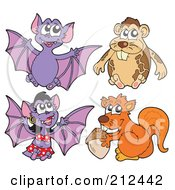 Royalty Free RF Clipart Illustration Of A Digital Collage Of Flying Bats A Hamster And Squirrel by visekart
