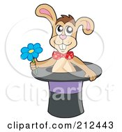 Royalty Free RF Clipart Illustration Of A Magician Rabbit In A Hat With A Flower