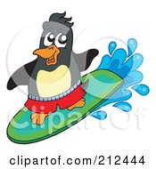 Royalty Free RF Clipart Illustration Of A Cute Penguin Surfing by visekart