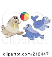 Royalty Free RF Clipart Illustration Of A Digital Collage Of A Playful Walrus And Seals by visekart