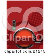 Clipart Illustration Of A Green Traffic Light In Front Of A Red Rainbow Splashing Into Gasoline Over A Red Background by elaineitalia
