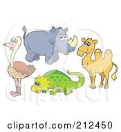 Royalty Free RF Clipart Illustration Of A Digital Collage Of An Ostrich Rhino Camel And Lizard by visekart