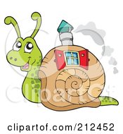 Royalty Free RF Clipart Illustration Of A Cute Snail With A Window And Chimney In His Shell Home by visekart