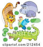 Royalty Free RF Clipart Illustration Of A Digital Collage Of A Tiger Hippo Bird And Crocodile by visekart