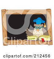 Royalty Free RF Clipart Illustration Of An Owl Teacher With A Book In Front Of A Black Board