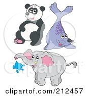 Royalty Free RF Clipart Illustration Of A Digital Collage Of A Cute Panda Seal And Elephant by visekart