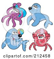 Royalty Free RF Clipart Illustration Of A Digital Collage Of An Octopus Seals And Crab by visekart