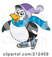 Royalty Free RF Clipart Illustration Of A Cute Penguin Ice Skating
