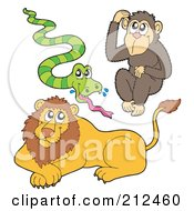 Digital Collage Of A Cute Snake Monkey And Lion