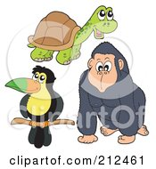 Royalty Free RF Clipart Illustration Of A Digital Collage Of A Cute Toucan Tortoise And Ape by visekart