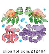 Digital Collage Of Two Sea Turtles Starfish And Octopus