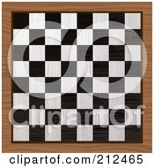 Royalty Free RF Clipart Illustration Of A Black And White Chess Board On A Wood Table