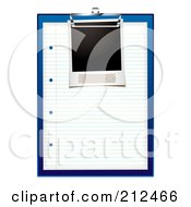 Royalty Free RF Clipart Illustration Of A Blank Picture On A Sheet Of Paper On A Blue Clip Board by michaeltravers