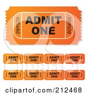 Royalty Free RF Clipart Illustration Of A Digital Collage Of Orange Admit One Tickets by michaeltravers
