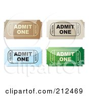 Royalty Free RF Clipart Illustration Of A Digital Collage Of Brown Beige Blue And Green Admit One Tickets by michaeltravers
