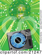 Blue Vinyl Record Playing In A Record Player Over A Green Background Under A Shiny Disco Ball At A Party