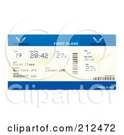 Royalty Free RF Clipart Illustration Of A First Class Plane Ticket